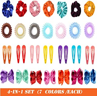 uFashion3C 4 In 1 Set of Multi-Colored Hair Accessories (35 Pcs) - Includes Snap Clips, Coil Bands, Clip-on Grosgrain Ribbon Bows and Velvet-Covered Scrunchies