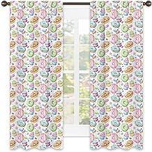 Rideau isolant coloré - Bonbons de style aquarelle avec donut, macarons et cupcakes avec glaçage, insonorisant, 254 x 213 ...