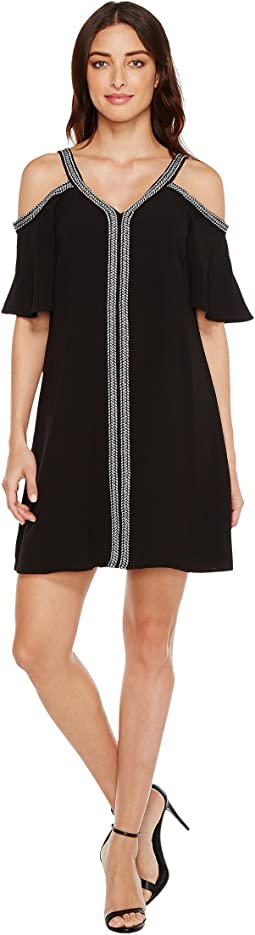 Short Sleeve Cold-Shouler Dress w/ Ribbon Trim