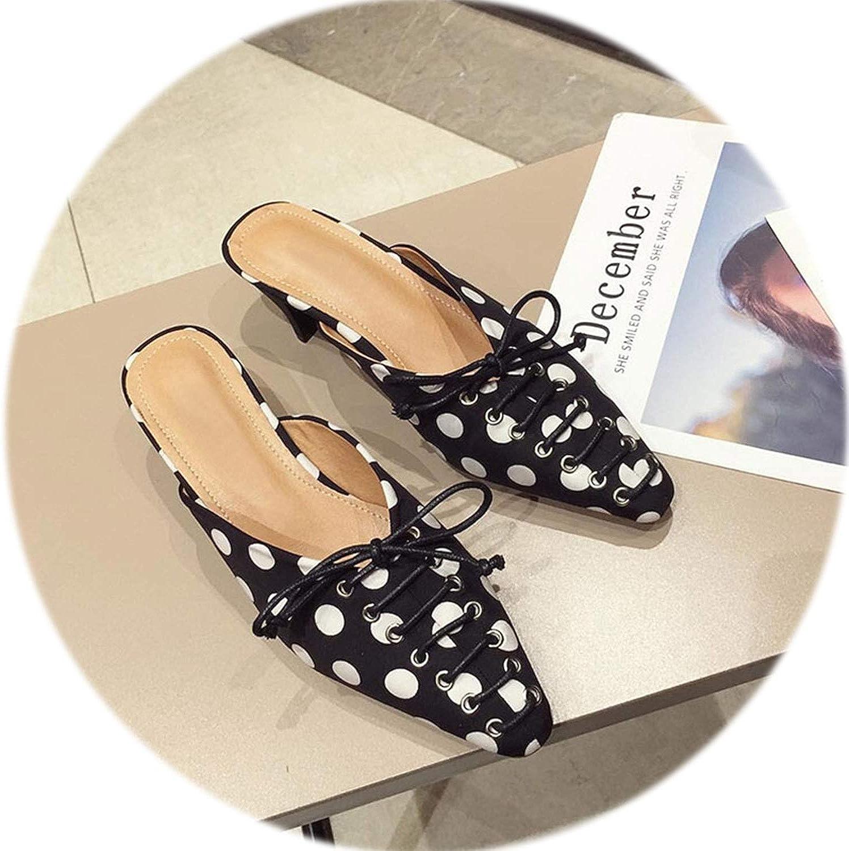 Gooding life High Heels shoes Vintage Square Toe Women Pumps Slip on Bowtie Women Mules Elegant Ladies shoes