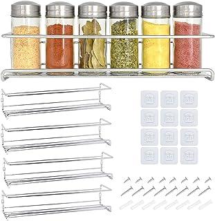 Étagère à épices et à herbes 4 étages - Rangement epices cuisine - Etagere a epices gris métallisé de qualité - Porte epic...