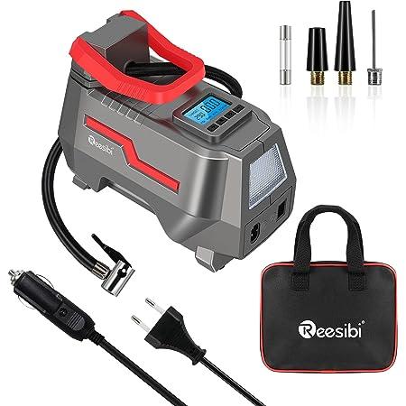 Reesibi Gonfleur Pneus Voiture 12V 230V DC/AC Double Alimentation, 150PSI Compresseur à air Pompe électrique, écran Digital, fourni avec 3 Embouts de gonflage et 2 câbles