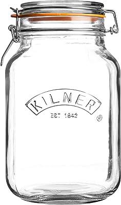 Kilner Square Clip Top Jar, 2L, Transparent 01655
