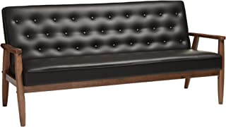 Baxton Studio Sorrento Mid-Century Retro Modern Faux Leather Upholstered Wooden 3-Seater Sofa, Black