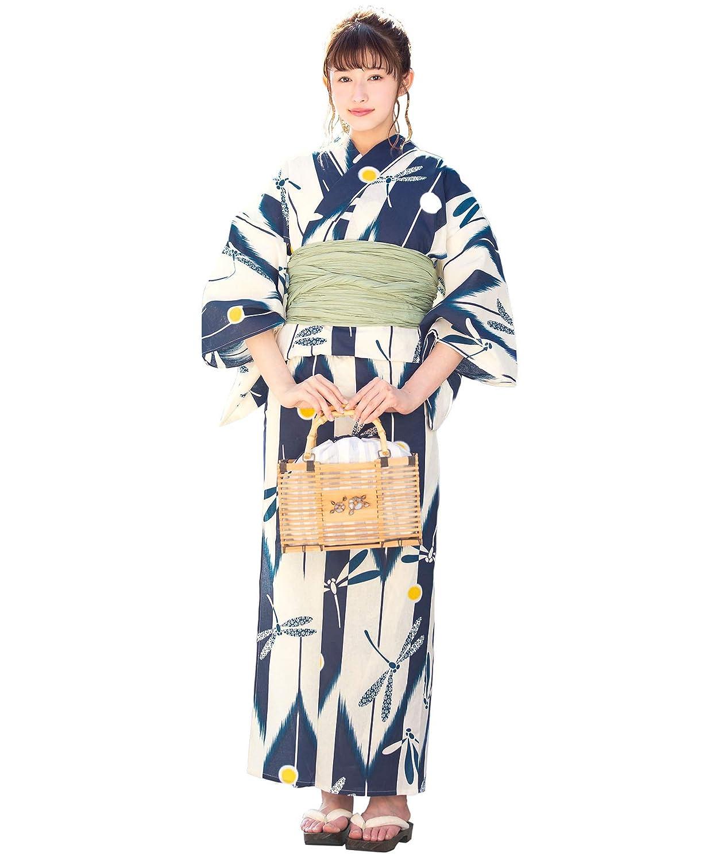 (ソウビエン)レディース浴衣セット 白系 アイボリー 紺 矢羽根縞 トンボ 水玉 綿 女性 花火大会