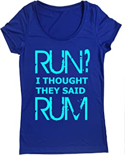 Performance Dry Sports Shirt – Women Running Short Sleeves top -Run? I Thought They Said Rum