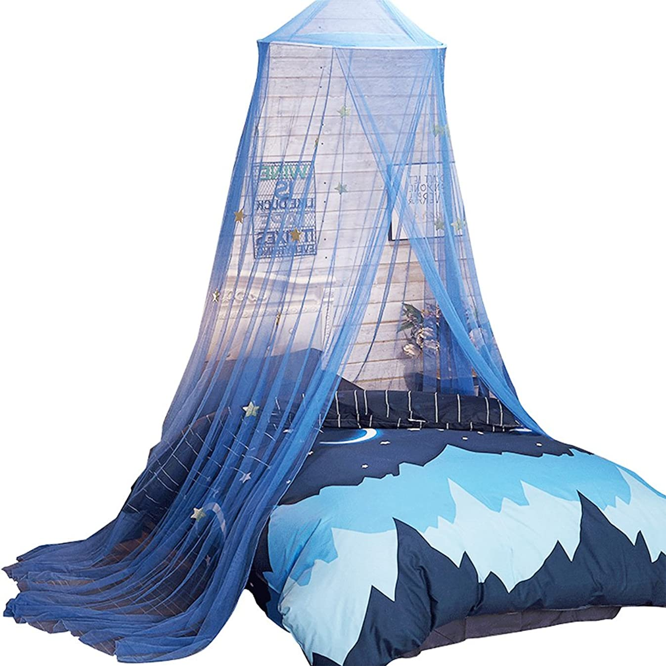 Uarter Bed Canopy Mosquito Net for Kids Bed Conical Curtains Kids Play Tent with Stars for Boys and Girls, Installation-Free, Blue/White