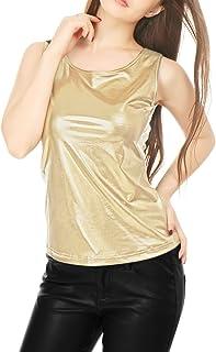 Allegra K Women's U Neck Stretchy Slim Fit Shiny Metallic Tank Top