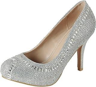 Women's Glitter Crystal Rhinestone Closed Almond Toe Stiletto High Heel Dress Pump