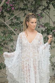 Bridal Kaftan Dress Made of Soft Lace, Boho Beach Dress, Medium Size (Please check sizes in my shop)