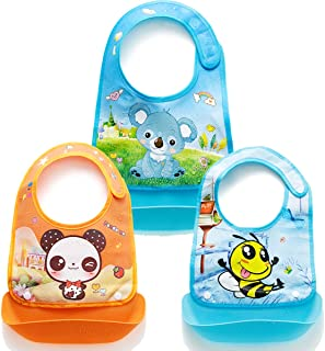 LC novelwaterproof roll up Non-slip Baby Bib with Silicone food catcher easy wipe clean soft kids bibs unisex Washable stain odor resistant Suitable for 6-36 month toddlers boy girl children