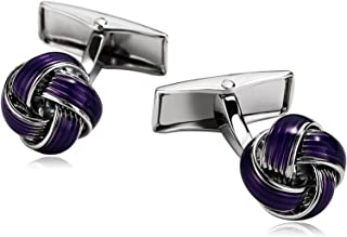 Bishilin Cufflinks for Men Stainless Steel Cufflink Square Silver Purple Cubic-Zirconia Father Boy Friend Accessories Gift