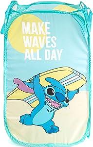 Jay Franco Disney Lilo & Stitch Make Waves Pop Up Hamper - Mesh Laundry Basket/Bag with Durable Handles (Official Disney Product)