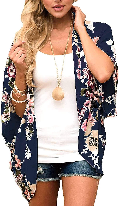 ChainJoy Women's Summer Beach Boho Chiffon Kimono Cardigans Sheer Open Front Cover Ups Tops