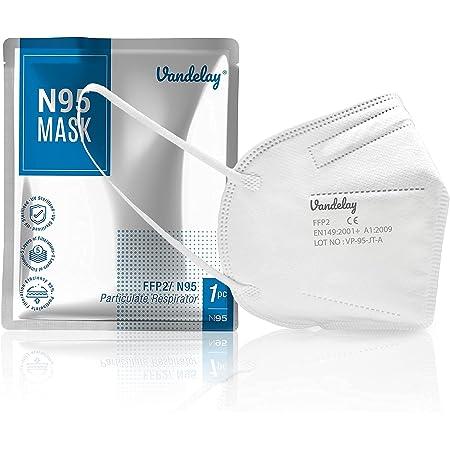 Vandelay N95 Masks - Reusable - Soft Nose Sponge - UV Sterilized - 5 Layer Face Masks with 95% filtration - SITRA, CE, FDA Certified - White [Pack of 5]