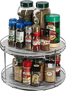 J JACKCUBE DESIGN 2 Tier Lazy Susan Turntable Cabinet Organizer - Rotating Spice Rack Storage Container - Medicine Storage Holder For Cabinets, Pantry, Fridge, Countertops - MK533A