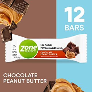 Zone Perfect Protein Bars, Chocolate Peanut Butter, 14g of Protein, Nutrition Bars With Vitamins & Minerals, Great Taste Guaranteed, 12 Bars