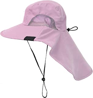 Outdoor Sun Protection Fishing Cap with Neck Flap, Wide Brim Sun Hat for Travel Camping Hiking Hunting Boating Safari Cap with Adjustable Drawstring