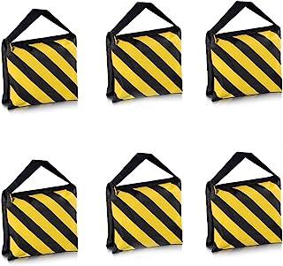 Neewer 6 Pack Dual Handle Sandbag, Black/Yellow Saddlebag for Photography Studio Video Stage Film Light Stands Boom Arms T...