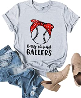 ZJP Women Busy Raising Ballers Letter Baseball T-Shirt Solid Color Casual Tees
