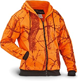 WFS Men's Thermal Lined Fleece Blaze Orange Camo Hooded Sweatshirt