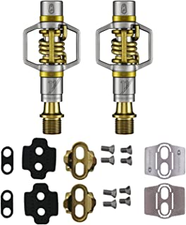 CRANKBROTHERs Crank Brothers Eggbeater 11 MTB Bike Pedals (Gold) with Premium Cleats and Shoe Shields Set for Traction