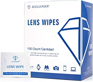 Lens Cleaning Wipes Pre-Moistened Portable Travel Cleaner for Eyeglasses, Computer or Phone Screens, Camera Lenses and Other Delicate Surfaces (100 Individual Count)