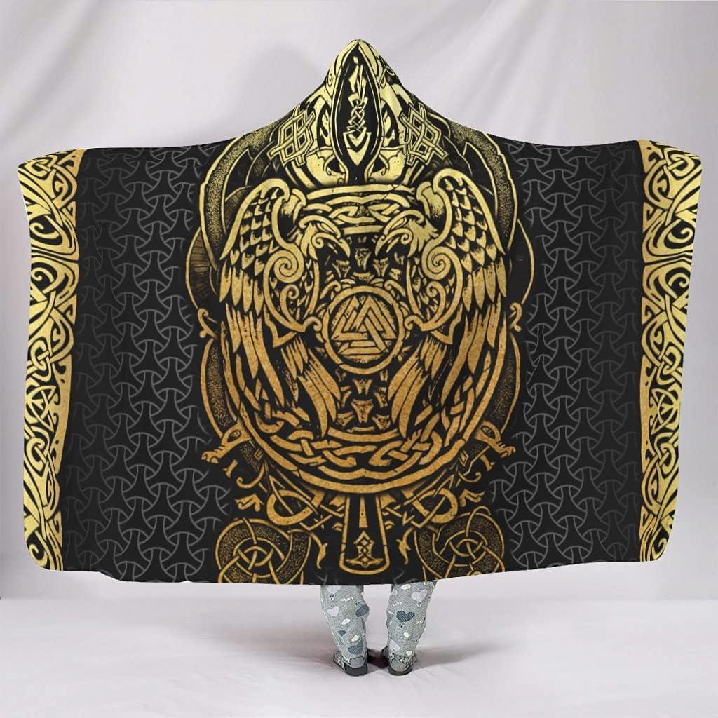 Ynbuyouzhong Viking Ravens Hooded Store Blankets Max 78% OFF Hug Plu Wearable Size