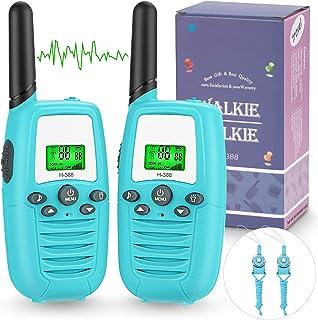 Walkie Talkie Niños, PMR446 8 Canales LCD Pantalla Función VOX Rango de 3KM, Incorporado Walkie Talkie Niñas Regalo para N...