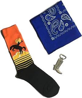 Rodeo Gift Bundle for Men - Set of 3 Items in Gift Box- Crew Socks, Bottle Cap Opener & Bandana