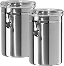 Airtight Canisters Sets for the Kitchen Stainless Steel - Beautiful for Kitchen Counter, Medium 64 fl oz, Food Storage Container, Tea Coffee Sugar Flour Canisters by SilverOnyx - Medium 64oz - 2 Piece