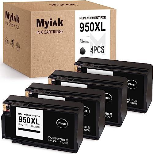popular MYIK discount Compatible Ink Cartridge Replacement for HP 950 XL 950XL Work for 251dw wholesale 276dw 271dw OfficeJet Pro 8600 8610 8620 8100 8615 8625 8630 8640 8660 (4 Black), V-MYIK-H950XL-4BK online sale