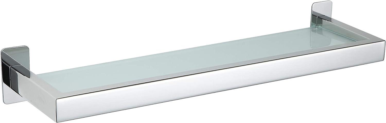 Cortesi Home Rikke Contemporary Stainless Steel Glass Vanity Shelf, Chrome