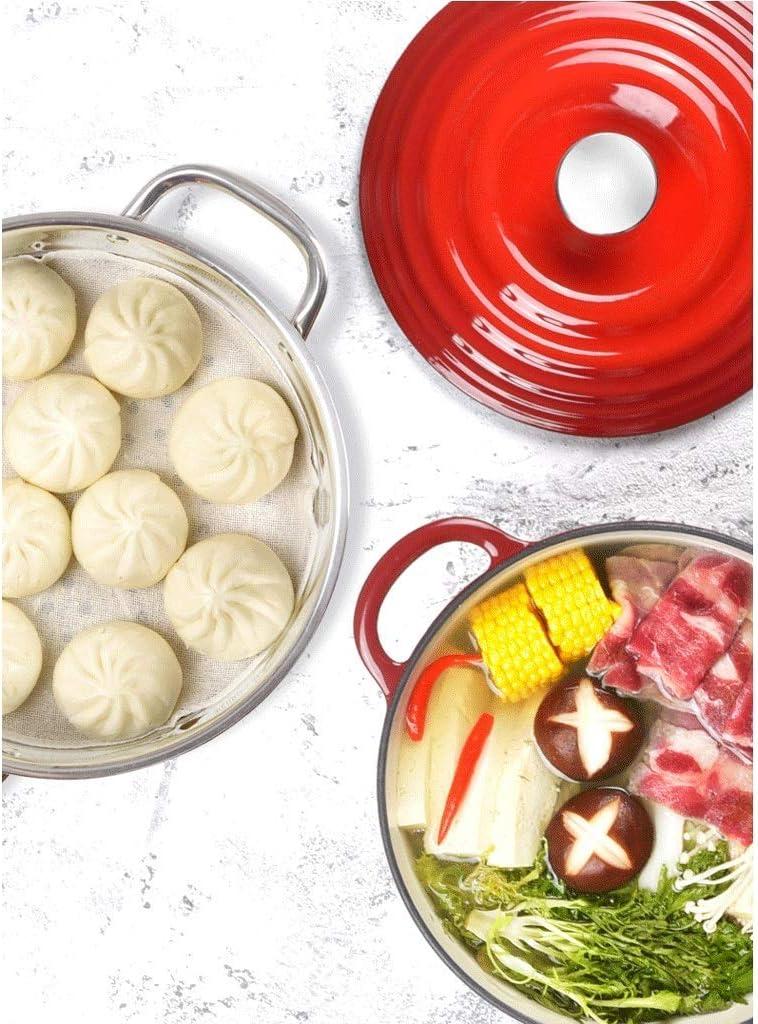 AMYZ Cuiseur à Vapeur en Fonte émaillé Ménage 2 Couches en Acier Inoxydable 304 Cuiseur à Vapeur Multifonctionnel Dutch Oven/Casserole Dish (24cm)(Couleur:Rouge) Red