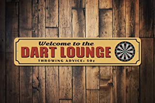 mengliangpu8190 Dart Lounge Sign Game Room Sign Dart Board Sign Welcome Man Cave Decor Metal Dorm Sign Dart Lounge Decor Quality Aluminum