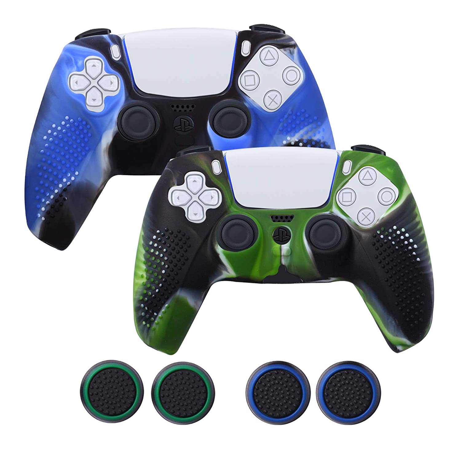 2 Pack PS5 Controller Grip Covers with 4 Thumb Stick Caps, Anti-