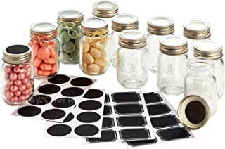 Hayley Cherie - 2.5 oz Mini Glass Mason Jars with Lids (Set of 12) with Chalkboard Labels