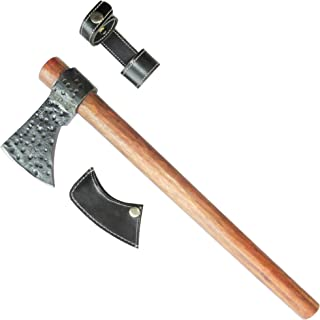 """stratuscrafts Antique Style 20"""" Throwing Axe   Viking Axe Outdoor Camping Hatchet Survival Axe   High Carbon Steel Blade Axe with Hard Teak Wood Handle & Pure Leather String Covering Sheath"""