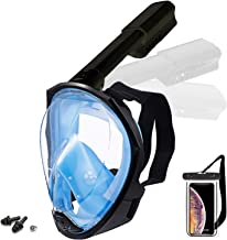 Foldable Full face Snorkeling mask with New Safety Breathing System, 180-degree Panoramic View, Waterproof and Anti-Fog, w...