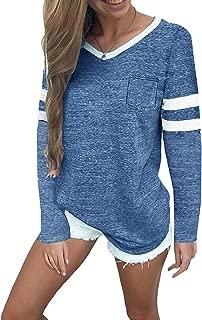 Women's Striped Tops Casual V Neck Baseball Tee Shirts Short/Long Sleeve Casual Blouse Color Block Tunic Tops