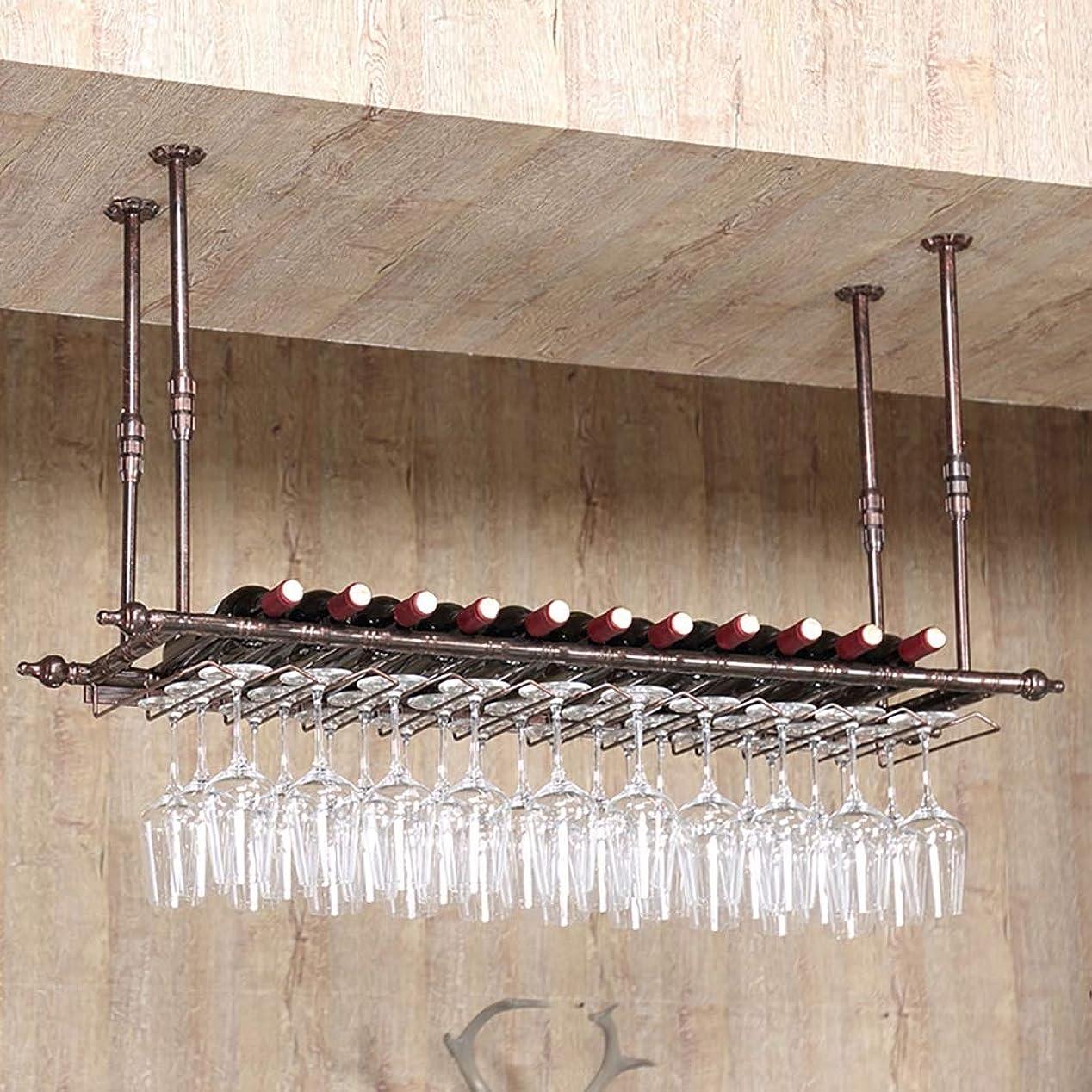 枠どきどきグラディスL-G-M ワインラックレトロウォールワインラックバーの金属鉄収納棚LOFT天井壁掛けぶら下げワインシャンパングラスゴブレット脚付きラックワインボトルホルダー(カラー:ブラック) (サイズ さいず : 100*30cm)