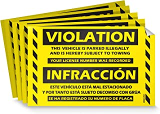 """Parking Violation Stickers for Cars (Fluorescent Yellow) - 50 Bilingual Spanish No Parking Prohibido Estacionar/Hard to Remove Super Sticky No Park Tow Warnings 8"""" x 5"""" by MESS"""