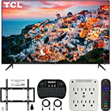 $629 » TCL 65S525 65-inch 5-Series Roku Smart HDR 4K UHD TV (2019) Bundle with Deco Mount Flat Wall Mount Kit, Deco Gear 2.4GHz Wireless Keyboard and 6-Outlet Surge Adapter with Night Light
