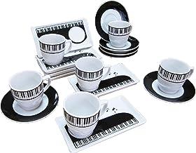 ピアノデザイン コーヒーカップ + ソーサー + 小皿(3点セット)x (6組 コーヒーカップ、ソーサー、小皿 x 6組みセッ ト、ホワイト)