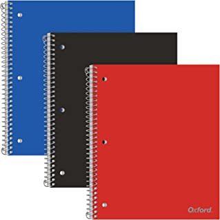 Oxford 1-Subject Poly Notebooks, College Rule, Assorted Color Covers, 100 Sheets, 1 Poly Divider Pocket, 3 Pack (10390)