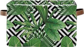 LUCKYEAH Panier de rangement en toile pliable avec poignées Motif jungle tropical Feuille de palmier géométrique Pour cham...
