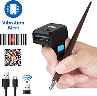 Tera Wireless Barcode Scanner [1 MP Camera] 1D 2D QR Portable Wearable Ring Finger Mini Bar Code Reader Versatile 3-in-1 Compatible with BT & 2.4GHz & USB 2.0 Work with Windows, Mac OS, Android 4.0+