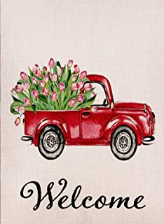 Dyrenson Home Decorative Love Valentine's Day Small Garden Flag Tulips Flower Double Sided Welcome Quote, House Red Truck Burlap Yard Decoration, Seasonal Outdoor Décor Flag 12.5 x 18 Spring Summer