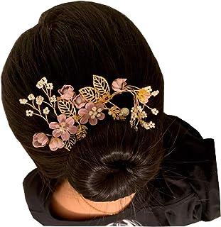 Spilla per capelli rosa con foglie e perle