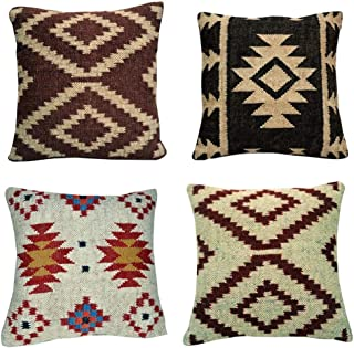 Indian Home Decorative Handmade Rug Kilim Cushion Cover,Pillow Cover 4 Pcs Set Throw Size 18X18 Inches